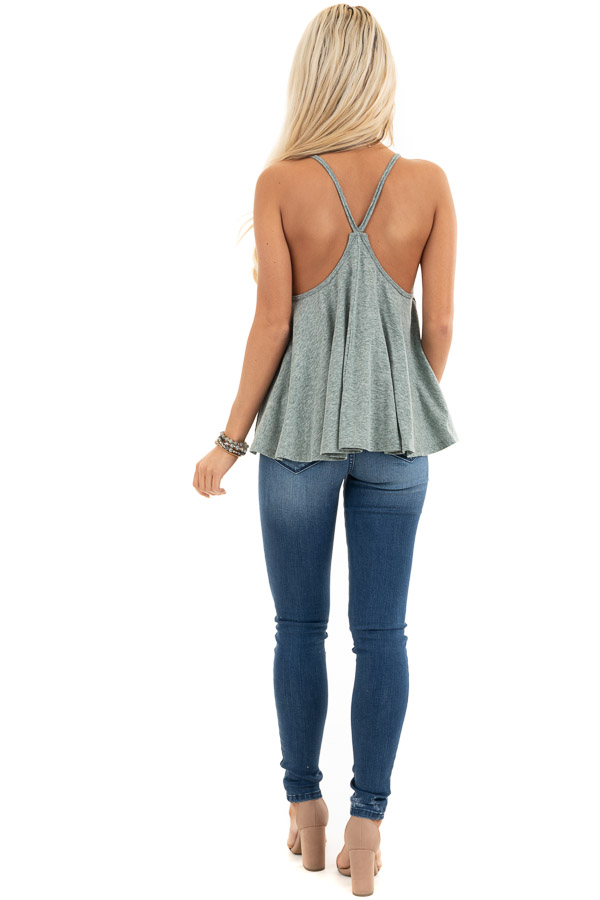 Heathered Green Loose and Flowy Tank with Round Neckline back full body