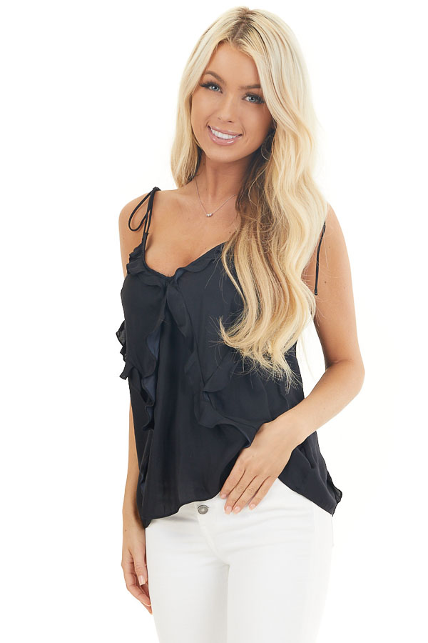 Black Ruffle Tank Top with Self Tie Spaghetti Straps front close up