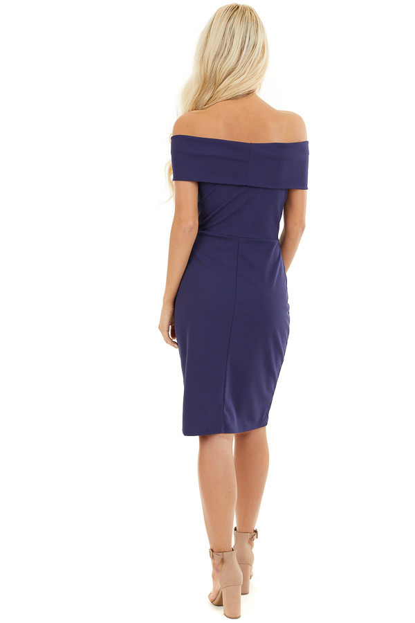 Navy Blue Off the Shoulder Bodycon Dress back full body