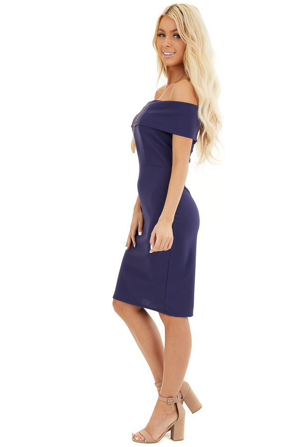 Navy Blue Off the Shoulder Bodycon Dress side full body