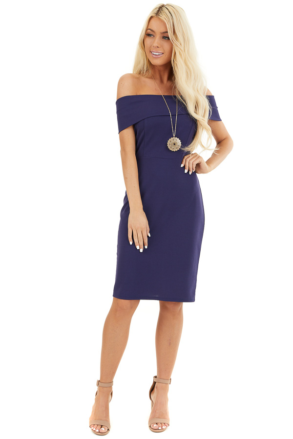 Navy Blue Off the Shoulder Bodycon Dress front full body