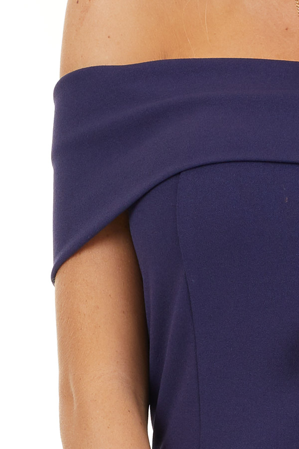 Navy Blue Off the Shoulder Bodycon Dress detail
