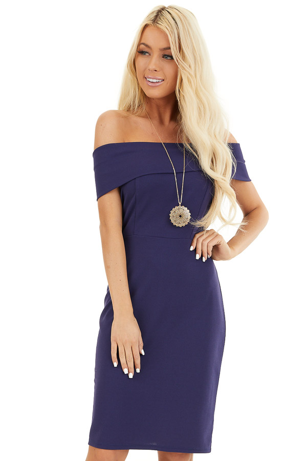 Navy Blue Off the Shoulder Bodycon Dress front close up