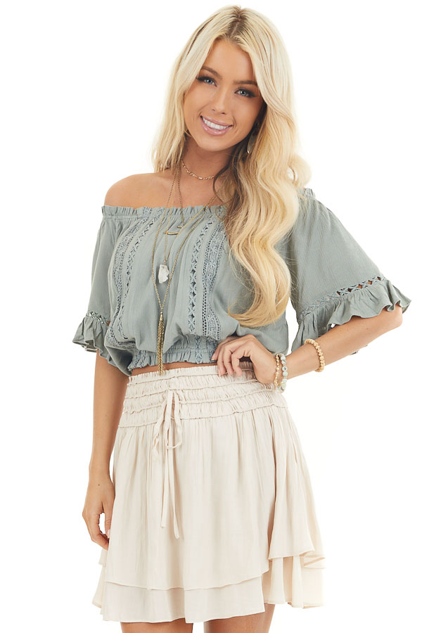 Sage Off the Shoulder Top with Bell Sleeves and Lace Detail front close up