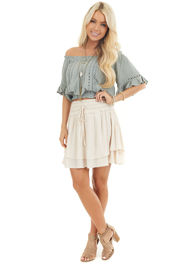 Sage Off the Shoulder Top with Bell Sleeves and Lace Detail front full body