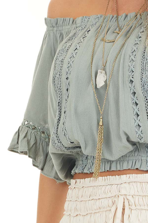Sage Off the Shoulder Top with Bell Sleeves and Lace Detail detail