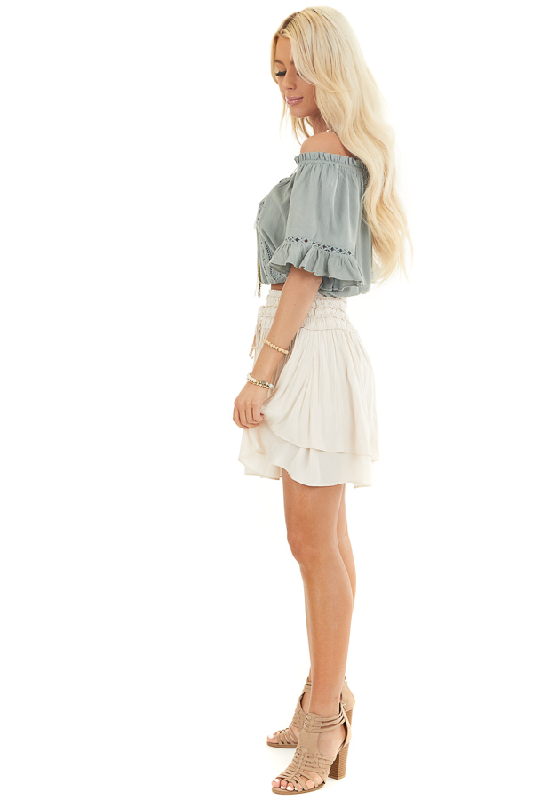 Sage Off the Shoulder Top with Bell Sleeves and Lace Detail side full body
