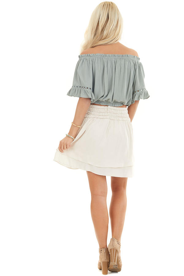 Sage Off the Shoulder Top with Bell Sleeves and Lace Detail back full body