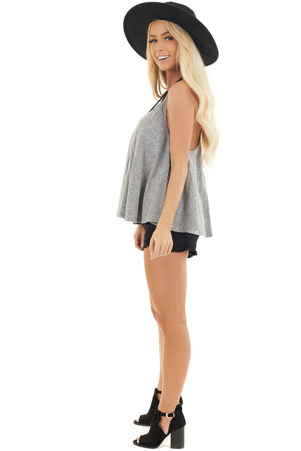 Heathered Grey Loose and Flowy Tank with Round Neckline side full body