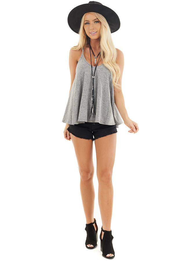 Heathered Grey Loose and Flowy Tank with Round Neckline front full body