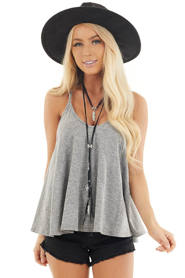 Heathered Grey Loose and Flowy Tank with Round Neckline front close up
