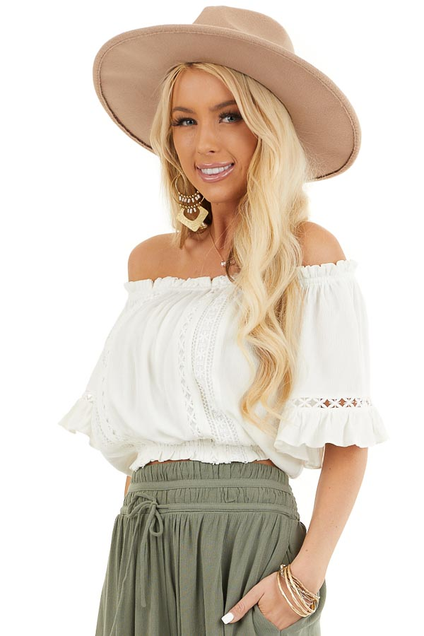 Ivory Off the Shoulder Top with Bell Sleeves and Lace Detail front close up