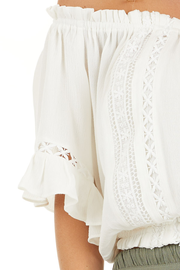 Ivory Off the Shoulder Top with Bell Sleeves and Lace Detail detail