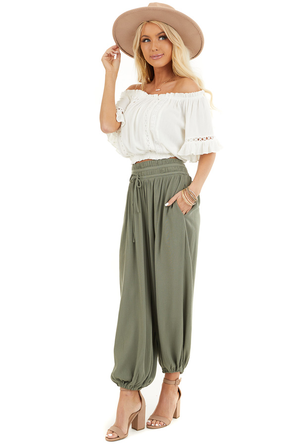 Ivory Off the Shoulder Top with Bell Sleeves and Lace Detail front full body