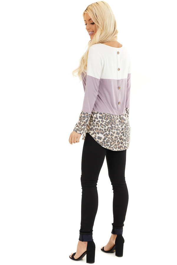 Lilac and Leopard Print Color Block Top with Button Details side full body