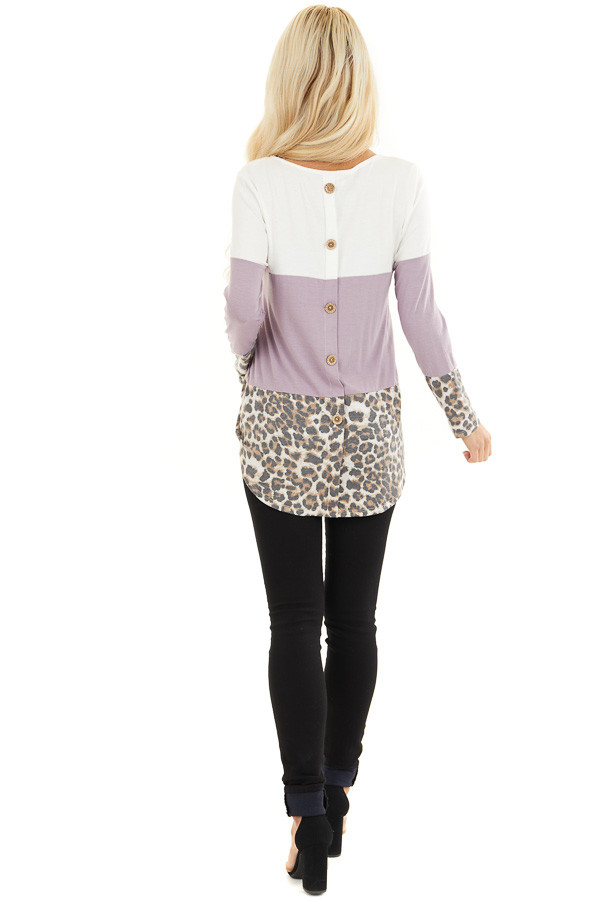 Lilac and Leopard Print Color Block Top with Button Details back full body