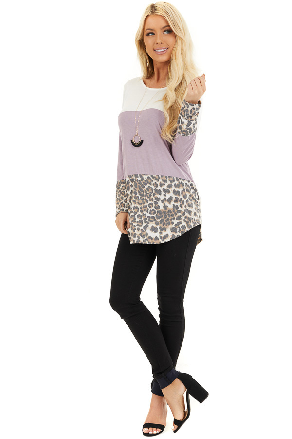 Lilac and Leopard Print Color Block Top with Button Details front full body
