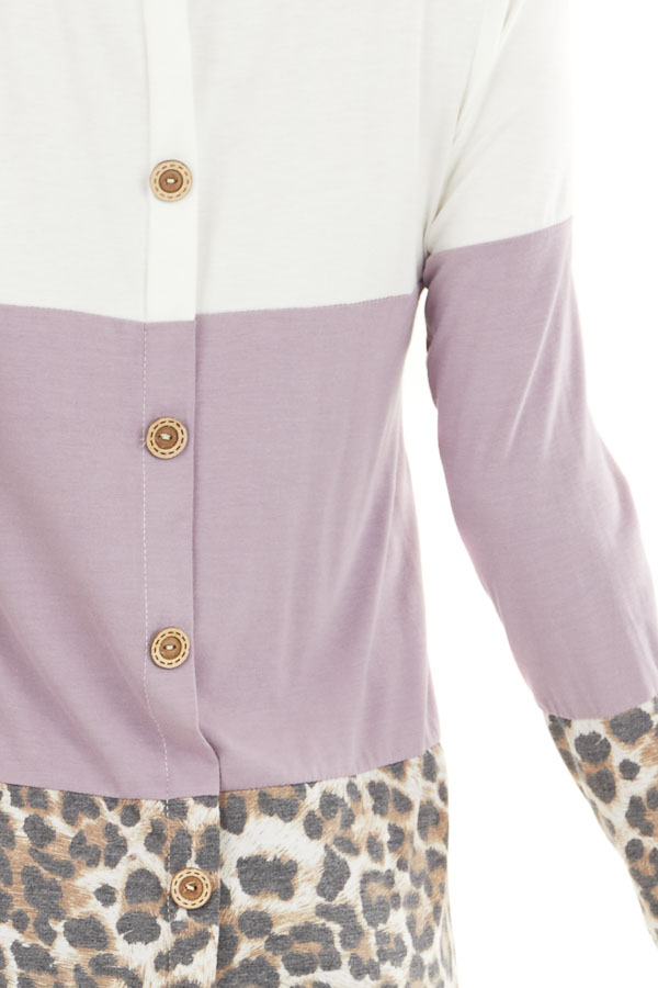 Lilac and Leopard Print Color Block Top with Button Details detail
