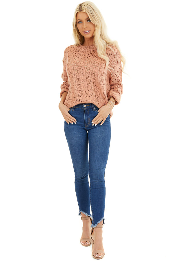 Salmon Crochet Knit Sweater Top with Long Sleeves front full body