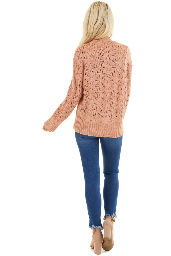 Salmon Crochet Knit Sweater Top with Long Sleeves back full body
