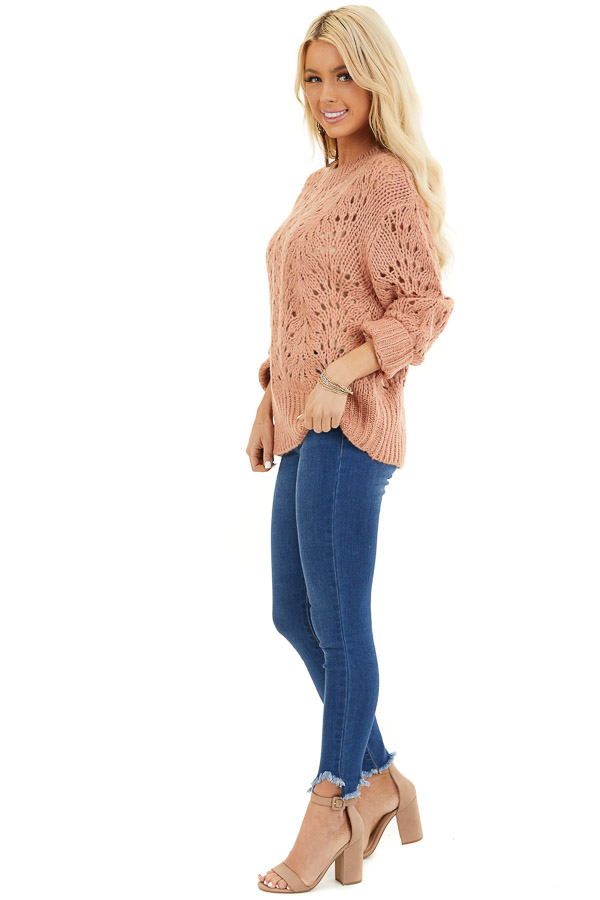 Salmon Crochet Knit Sweater Top with Long Sleeves side full body
