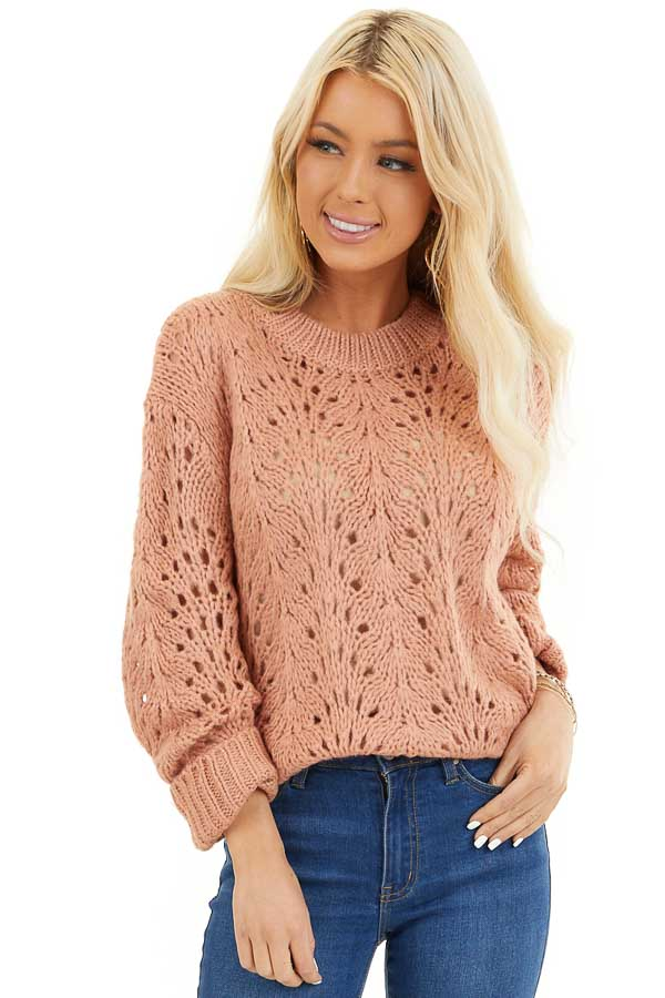 Salmon Crochet Knit Sweater Top with Long Sleeves front close up