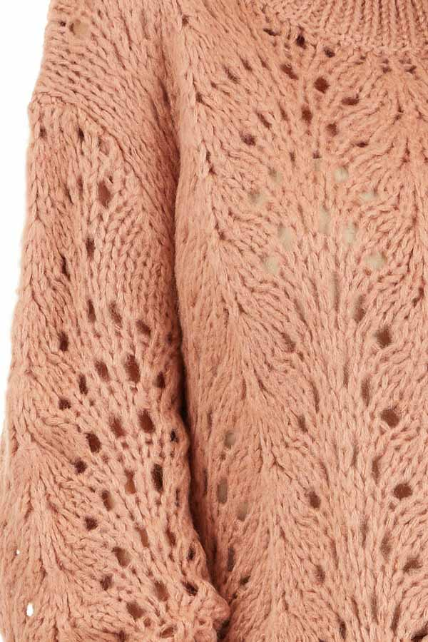 Salmon Crochet Knit Sweater Top with Long Sleeves detail