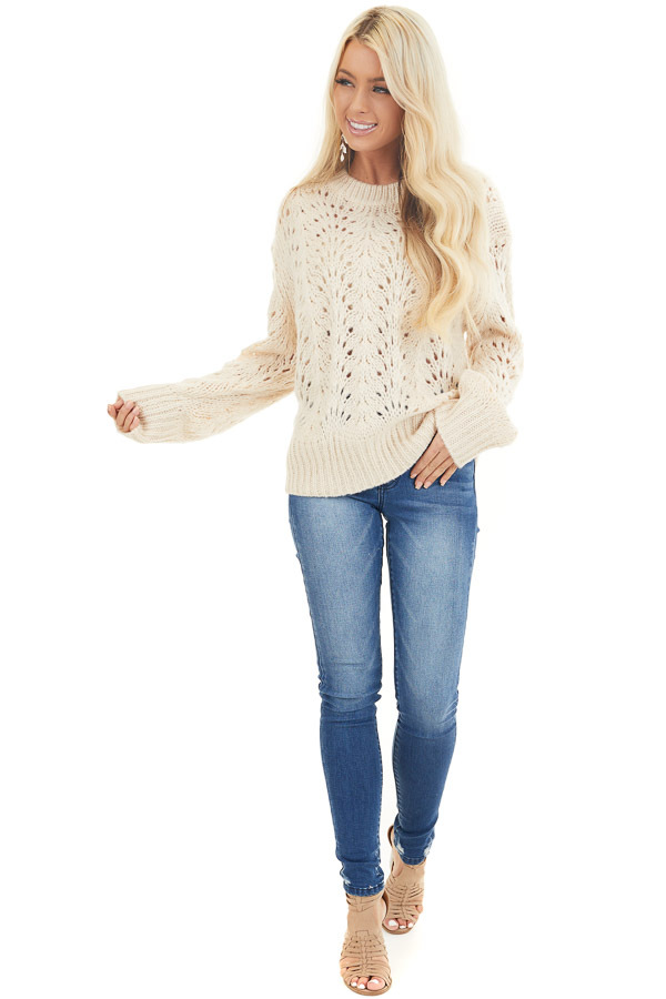 Champagne Crochet Knit Sweater Top with Long Sleeves front full body