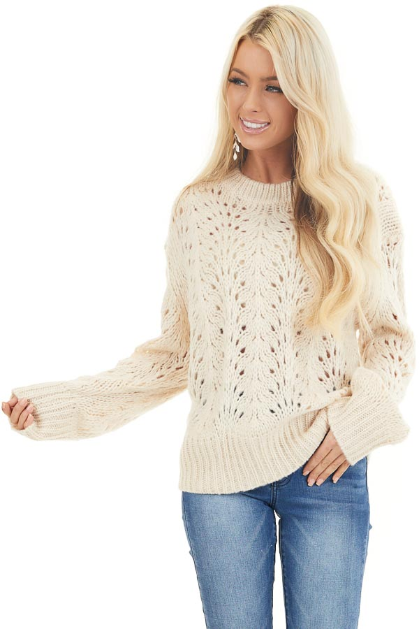 Champagne Crochet Knit Sweater Top with Long Sleeves front close up