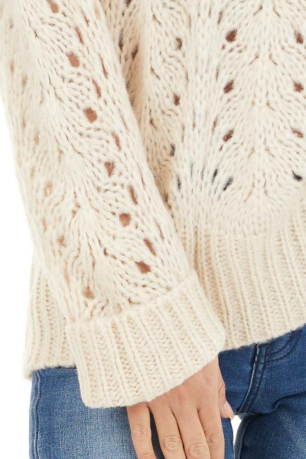 Champagne Crochet Knit Sweater Top with Long Sleeves detail