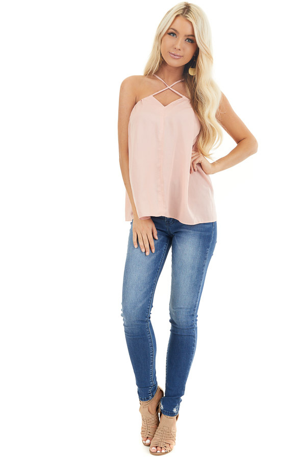 Blush Spaghetti Strap Tank Top with Criss Cross Front Detail front full body