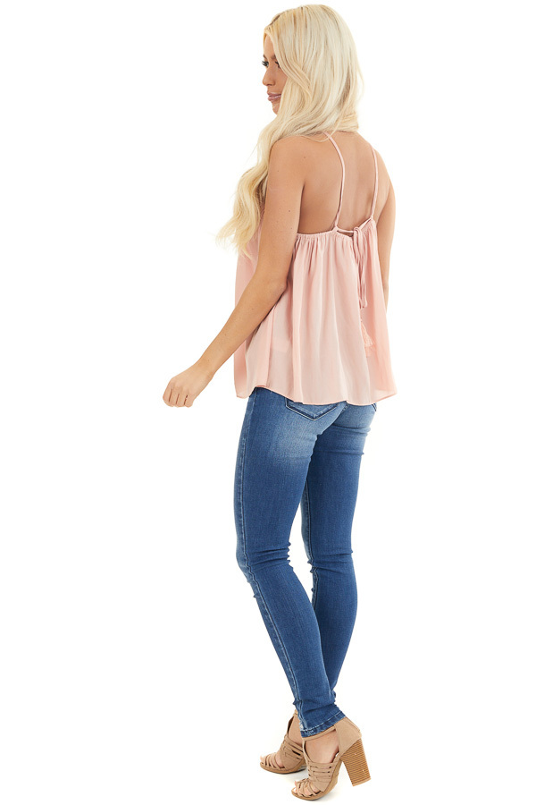 Blush Spaghetti Strap Tank Top with Criss Cross Front Detail side full body