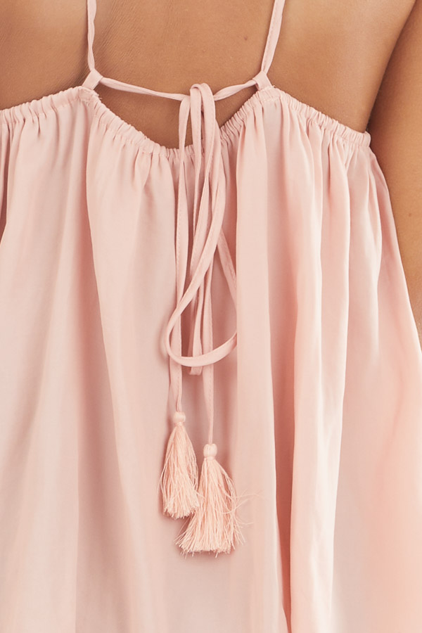 Blush Spaghetti Strap Tank Top with Criss Cross Front Detail detail
