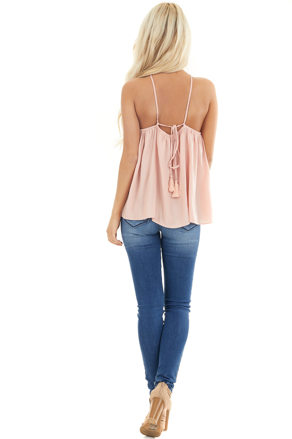 Blush Spaghetti Strap Tank Top with Criss Cross Front Detail back full body