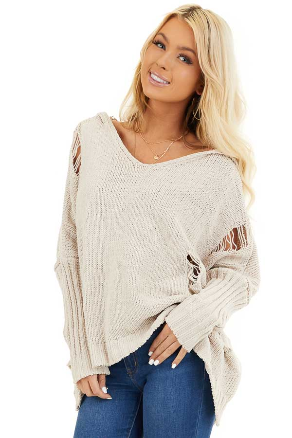 Beige Oversize Chenille Distressed Sweater with Hood front close up