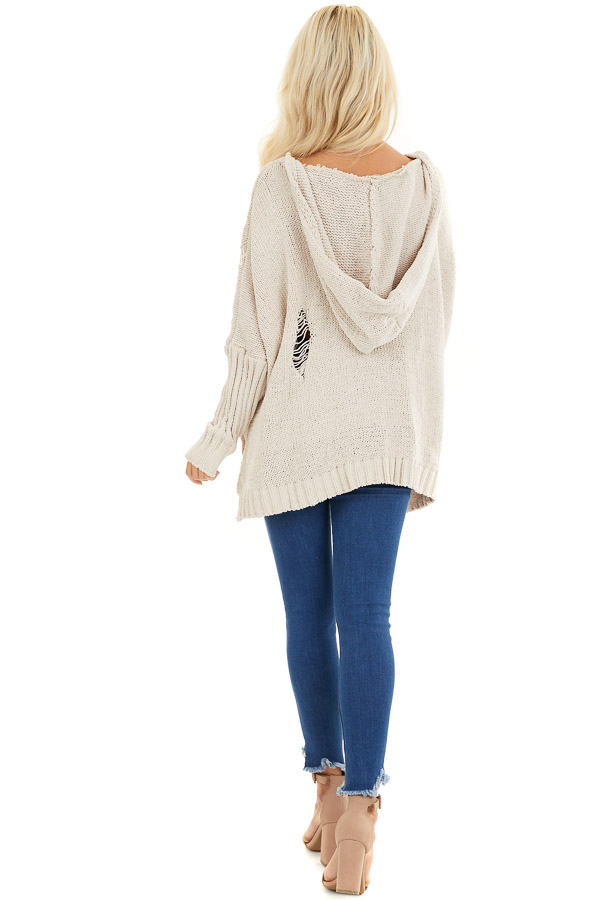 Beige Oversize Chenille Distressed Sweater with Hood back full body