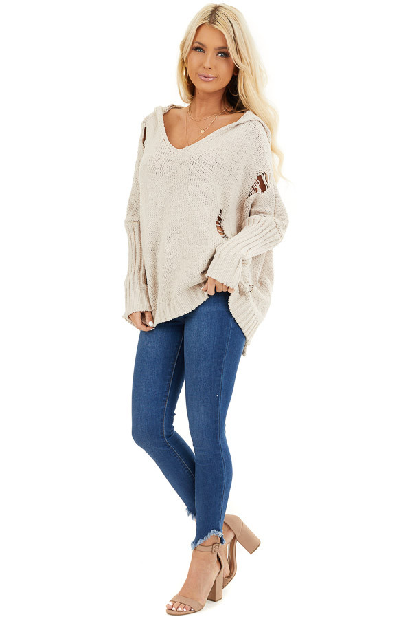 Beige Oversize Chenille Distressed Sweater with Hood front full body