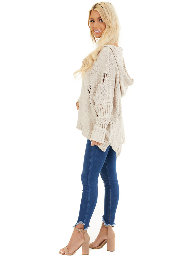 Beige Oversize Chenille Distressed Sweater with Hood side full body