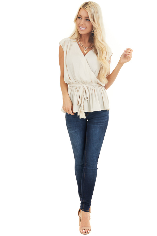 Champagne Surplice Top with Elastic Waistline and Tassel Tie front full body