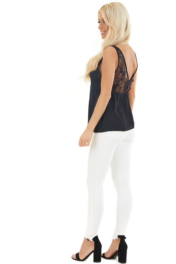Washed Black Silky Tank Top with V Neckline and Lace Details side full body