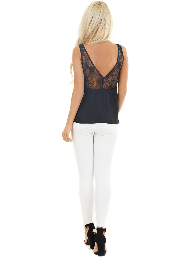 Washed Black Silky Tank Top with V Neckline and Lace Details back full body