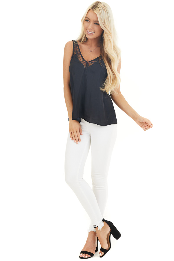 Washed Black Silky Tank Top with V Neckline and Lace Details front full body