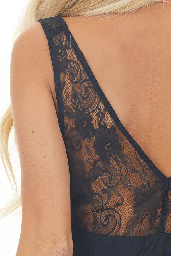 Washed Black Silky Tank Top with V Neckline and Lace Details detail
