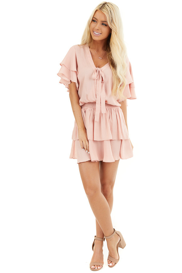 Blush Surplice V Neck Dress with Tie Detail and Ruffles front full body