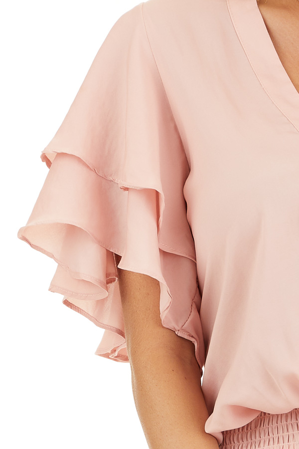 Blush Surplice V Neck Dress with Tie Detail and Ruffles detail
