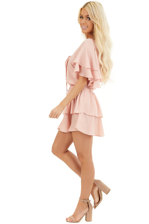 Blush Surplice V Neck Dress with Tie Detail and Ruffles side full body