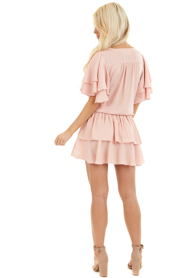 Blush Surplice V Neck Dress with Tie Detail and Ruffles back full body