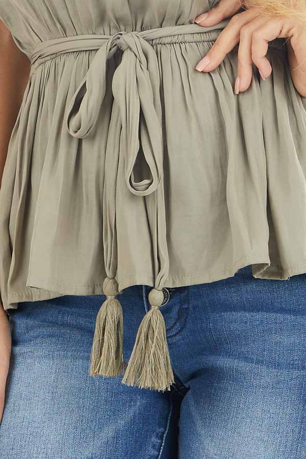 Light Olive Blouse Top with Waist Tie and Tassel Detail detail