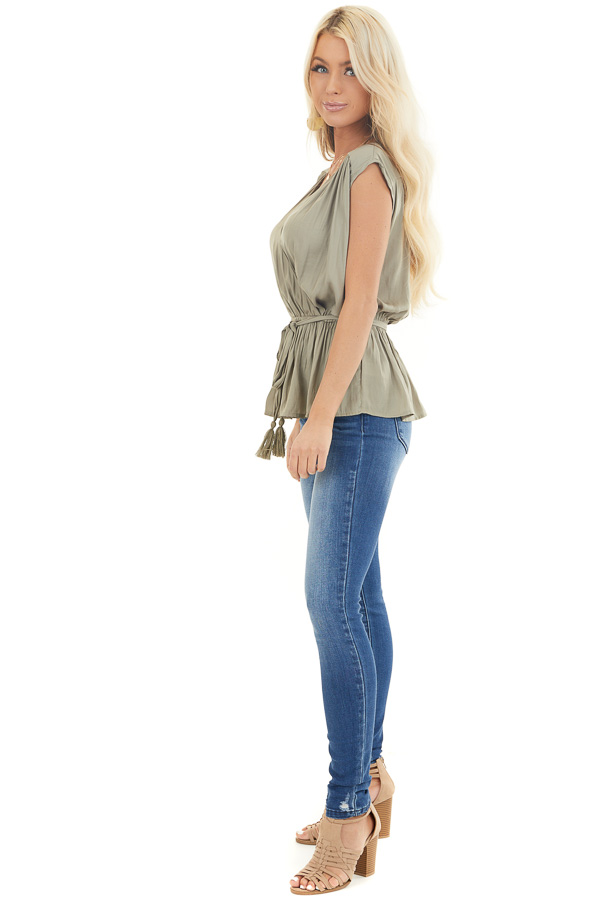 Light Olive Blouse Top with Waist Tie and Tassel Detail side full body