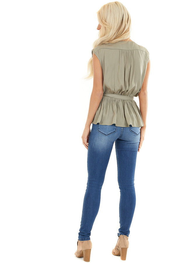Light Olive Blouse Top with Waist Tie and Tassel Detail back full body